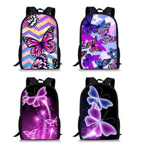 School Backpack For Teenage Girl Children School Bags Butterfly Print Bookbag