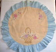 Vintage Very Old handmade doily table cover embroidered (double sided) 20 in.
