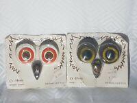 Vintage O-Henry Ceramic Owl Eyes & Beak Beads Set for Macrame Owl X2