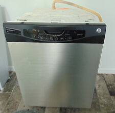 Pre-Owned Ge Built in Dishwasher Finger Proof Clean Steel with Black Works Well