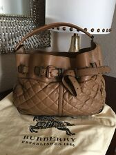 BURBERRY EASTON MD LANDSCAPE QUILTED  LARGE LEATHER HOBO HANDBAG W/DUST BAG