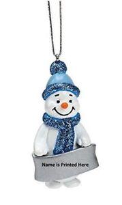Snowman Blue Glittered Decoration with Irish Names By Suki