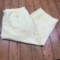 Lauren Ralph Lauren Womens Crop Capri Pants Plus Size 22W Yellow 100% Cotton