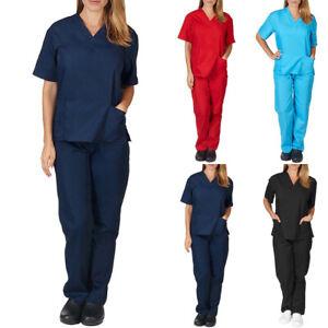 Women Ladies Scrub Plain Doctors Uniform Nurse Dentist Hospital Long Pants Set