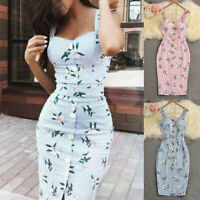 Women Bandage Sleeveless Bodycon Dress Floral Evening Party Gown Dress Summer