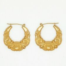 Genuine 9 Ct Gold Hallmarked Vintage Large Victorian Style Creole Hoop Earrings
