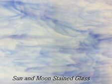 8X10 Spectrum Stained Glass Sheet S335-2 - White and Light Blue / Sheet Glass