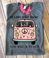 Hippie Cat On A Dark Desert Highway T Shirt Grey Cotton For Men S-6XL