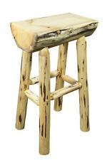 "OUTDOOR Log Bar Stools, 30"" Wooden Barstool, Amish Made Furniture, Rustic Lodge"