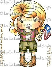 SALUTING MARCI-La-La Land Crafts Mounted Rubber Stamp-Stamping-Army-Soldier