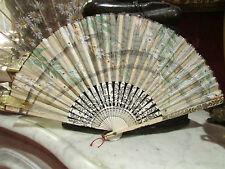 ancien petit eventail fan abanico ventaglio en papier peint epoque 19 eme