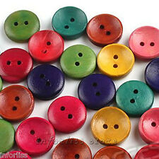 20 Botones de madera redondo varios colores mix