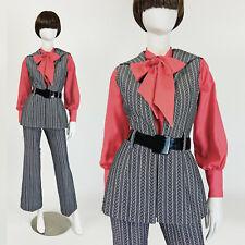 Vintage 60s 70s Mod Pantsuit Set Bell Bottoms Herringbone Tweed Vest Xs S 2 4