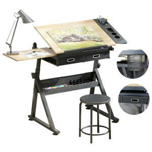 Adjustable Drafting Table Architect Art Craft Drawing Desk Stand+Stool&2 Drawers