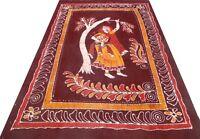 Tagesdecke Indische Bettüberwurf Braun Batik Tischdecke Wandbehang Baumwolle