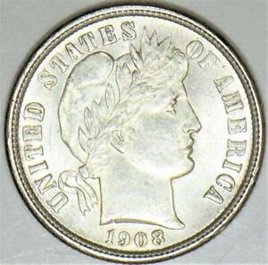 1908-D Barber Dime; Choice Uncirculated; Very Nice!