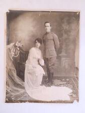 Antique World War 1? Officer and Bride B/W Wedding Photo
