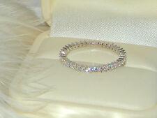 Fila de Plata 925 1 Completo Anillo De La Eternidad, anillo de bodas, anillo de apilamiento Skinny Thin o/7