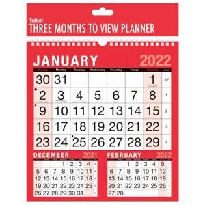 2022 Three 3 Months To View Calendar Spiral Bound Office Planner Organiser 3804