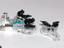 1 Glass Heart Angel Wings small bottle Pendant locket rice charm Vial Black Bat