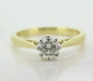 18ct Yellow Gold 0.50ct Diamond Solitaire Ring (Size K 1/2)