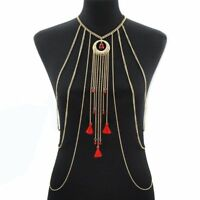 Body Chain Jewelry Harness Bikini Us Chest Necklace Rhinestone Women Crystal Bra