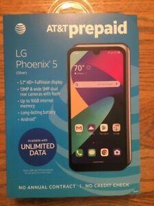 AT&T LG PHOENIX 5 LMK300AM - 16GB - Silver BRAND NEW PREPAID CELL PHONE