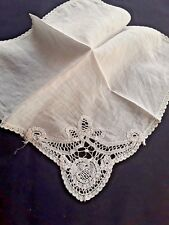 Lady'S Handkerchief - Early 20Th Century - Finest Lawn With Lace
