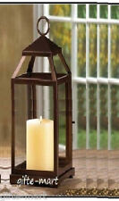 "Large 17"" tall Malta BRONZE BROWN Candle Lantern holder light outdoor terrace"