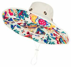 Womens Large Brim Floppy Foldable Roll up UPF 50 Beach Sun Hat Riversible Brim