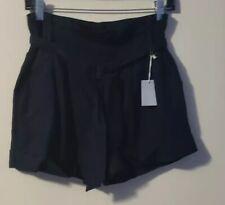 I LOVE H81 Women's High Waist Linen Blend PaperBag Cuff Shorts Size 25 Black NWT