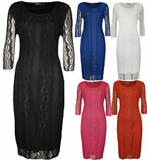 Round Neck 3/4 Sleeve Viscose Casual Dresses for Women