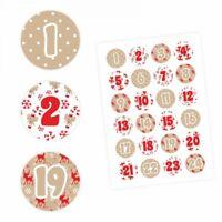 24 Adventskalender Zahlen Aufkleber ROT/BEIGE - rund 4 cm Ø-Sticker Weihnachten