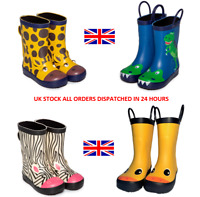 Girls Boys Kids Childrens Animal Wellington Wellies Rubber Neoprene Lined Boots