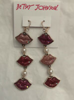 Betsey Johnson Rose Gold, Pave & Faux Pearl Linear Mismatch  Lip Earrings NWT