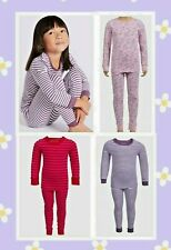 New Ex  M*S Kids Girls Baby Thermal Cotton Striped Long Pyjamas Pjs Set 12-18