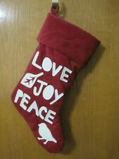 Pottery Barn Christmas Stocking Love Joy Peace Dove Applique Letters Red White