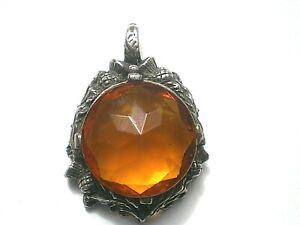 Vintage Celtic Orange Amber Stone In Silver Thistle Frame Pendant