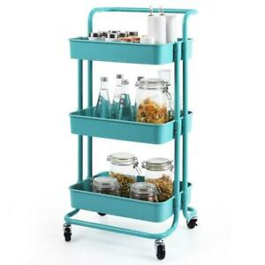 3-Tier Metal Rolling Utility Cart-Heavy Duty Mobile Storage Organizer Home US