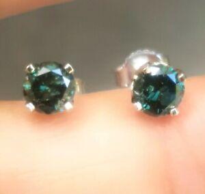 0.74ct Natural Blue Diamond 14K White Solid Gold Stud Earrings Push Back Wedding