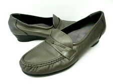 SAS Tripad Comfort Womens Size 10 Wide Slip On Loafers Gray Pewter Leather Heel