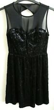 UK NEW Womens Clothes Ex Store Black Velvet and Mesh Dress with Zip (SIZE 8)