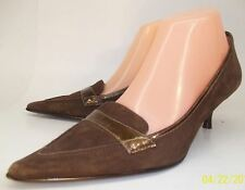 Circa Joan David Women Shoes US 6M Brown Leather Buckle Slingback Heels Casual