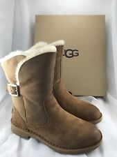 UGG Jannika Chestnut Suede Fur Cuff Ankle Short Boots Size 7 Womens 1017504