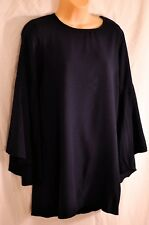 women's necesssary objects navy blue dress size Small big bell sleevves back zip