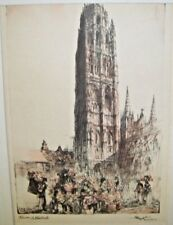 Old Antique Print Lithograph Rouen Cathedrale Rouen France