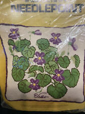 NOS Vtg Needlepoint Kit Pillow VIOLETS 1975 Columbia Minerva Margot Johnson USA