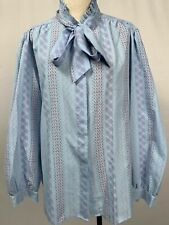 Vintage 80s Pussy Bow Blouse Blue Colorful Lightweight Ruggeri Sz 38 Long Sleeve