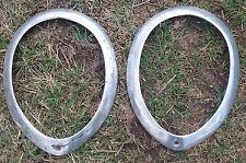1937 38 39 Ford Headlight Ring Trim Bezel Pair OEM