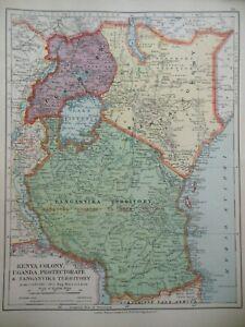 Original Antique Map of Kenya, Uganda & Tanganyika - Africa (c1920) Stanford